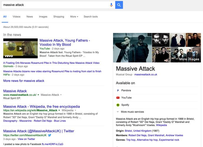 Google Search SERP Music Artist Sidebar Massive Attack